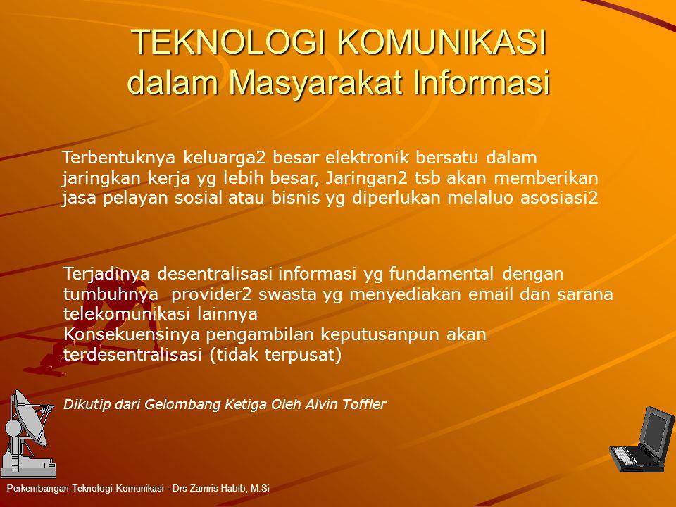 TEKNOLOGI KOMUNIKASI dalam Masyarakat Informasi Perkembangan Teknologi Komunikasi - Drs Zamris Habib, M.Si Terbentuknya keluarga2 besar elektronik ber