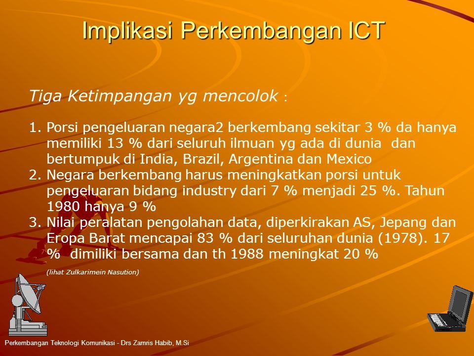 Implikasi Perkembangan ICT Perkembangan Teknologi Komunikasi - Drs Zamris Habib, M.Si Tiga Ketimpangan yg mencolok : 1.Porsi pengeluaran negara2 berke