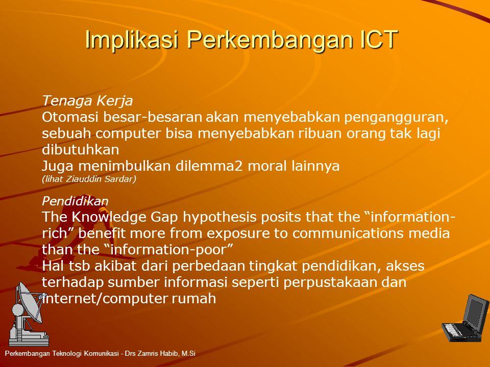 Implikasi Perkembangan ICT Perkembangan Teknologi Komunikasi - Drs Zamris Habib, M.Si Tenaga Kerja Otomasi besar-besaran akan menyebabkan pengangguran