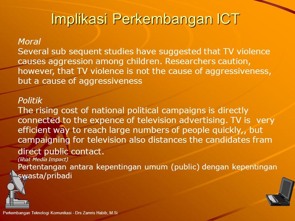 Implikasi Perkembangan ICT Perkembangan Teknologi Komunikasi - Drs Zamris Habib, M.Si Moral Several sub sequent studies have suggested that TV violence causes aggression among children.