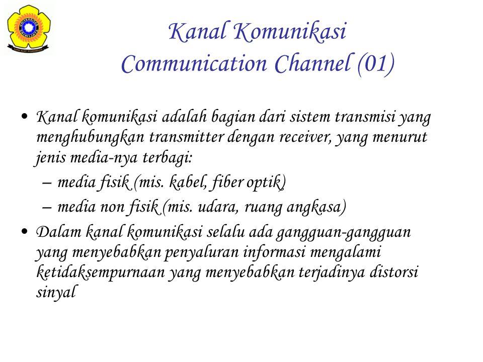 Kanal komunikasi adalah bagian dari sistem transmisi yang menghubungkan transmitter dengan receiver, yang menurut jenis media-nya terbagi: –media fisi