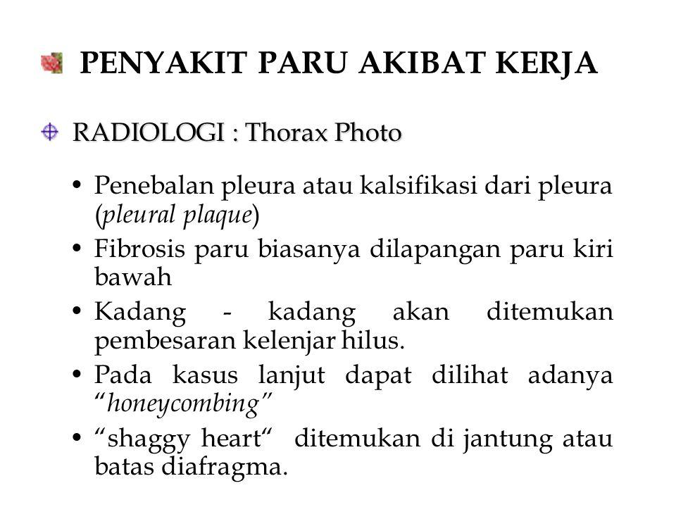 PENYAKIT PARU AKIBAT KERJA RADIOLOGI : Thorax Photo RADIOLOGI : Thorax Photo Penebalan pleura atau kalsifikasi dari pleura ( pleural plaque ) Fibrosis