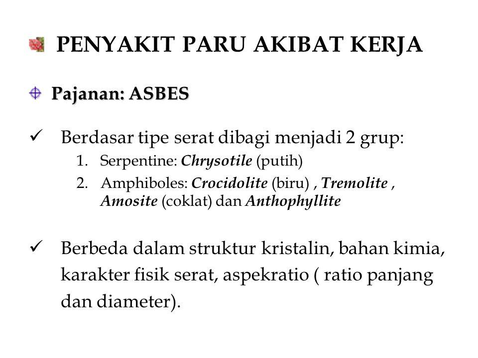 PENYAKIT PARU AKIBAT KERJA Pajanan: ASBES Pajanan: ASBES Berdasar tipe serat dibagi menjadi 2 grup: 1.Serpentine: Chrysotile (putih) 2.Amphiboles: Cro