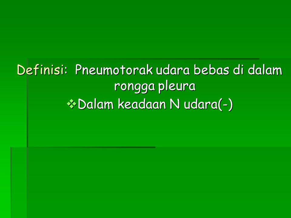 Definisi: Pneumotorak udara bebas di dalam rongga pleura  Dalam keadaan N udara(-)