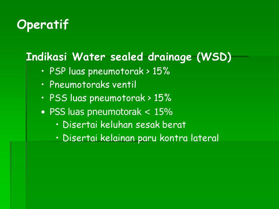 Indikasi Water sealed drainage (WSD) PSP luas pneumotorak > 15% Pneumotoraks ventil PSS luas pneumotorak > 15% PSS luas pneumotorak < 15% Disertai kel