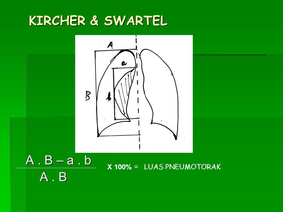 KIRCHER & SWARTEL A. B – a. b A. B – a. b A. B A. B X 100% = LUAS PNEUMOTORAK