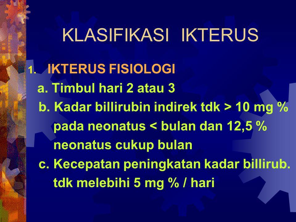 KLASIFIKASI IKTERUS 1.IKTERUS FISIOLOGI a. Timbul hari 2 atau 3 b.