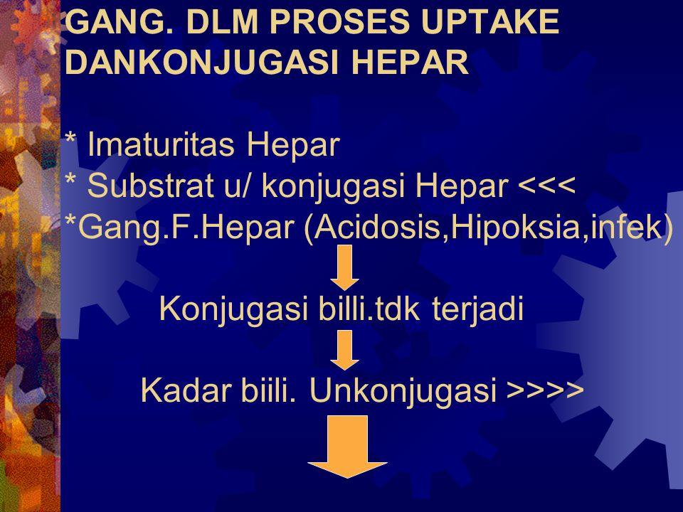 GANG. DLM PROSES UPTAKE DANKONJUGASI HEPAR * Imaturitas Hepar * Substrat u/ konjugasi Hepar >>>