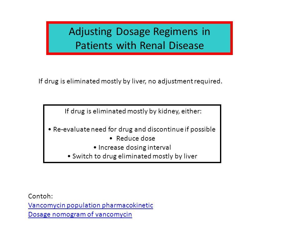 If drug is eliminated mostly by liver, no adjustment required. Adjusting Dosage Regimens in Patients with Renal Disease If drug is eliminated mostly b