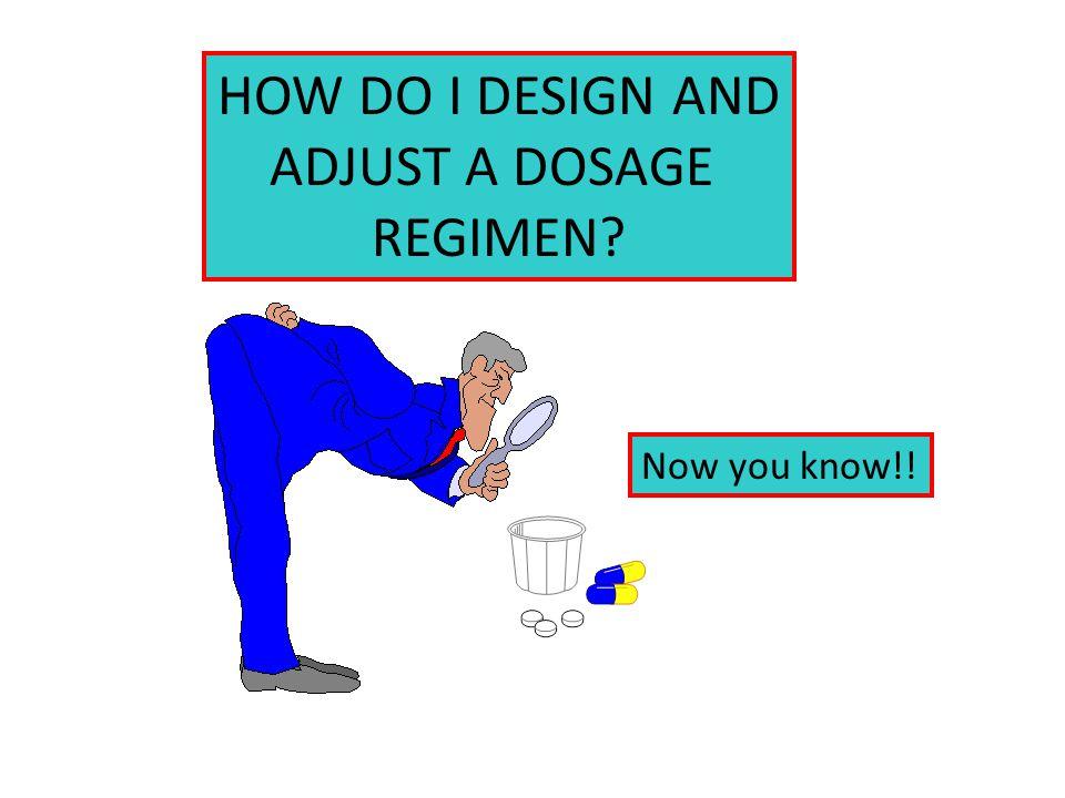 HOW DO I DESIGN AND ADJUST A DOSAGE REGIMEN? Now you know!!