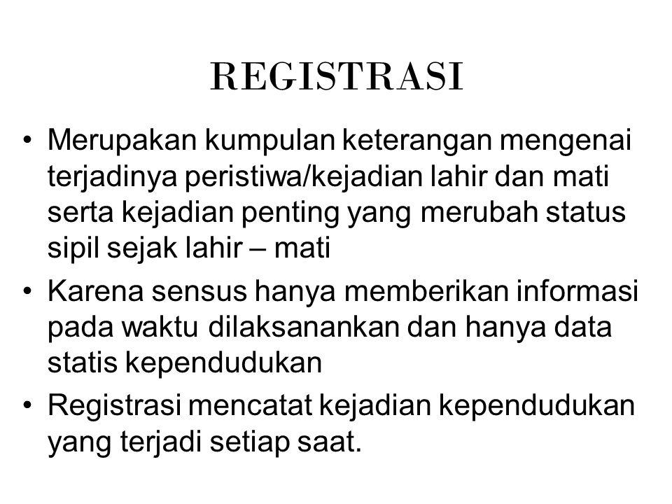 REGISTRASI Merupakan kumpulan keterangan mengenai terjadinya peristiwa/kejadian lahir dan mati serta kejadian penting yang merubah status sipil sejak