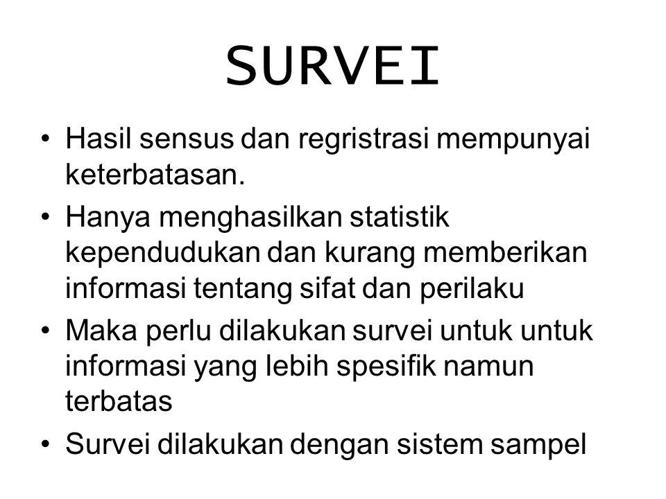 SURVEI Hasil sensus dan regristrasi mempunyai keterbatasan. Hanya menghasilkan statistik kependudukan dan kurang memberikan informasi tentang sifat da