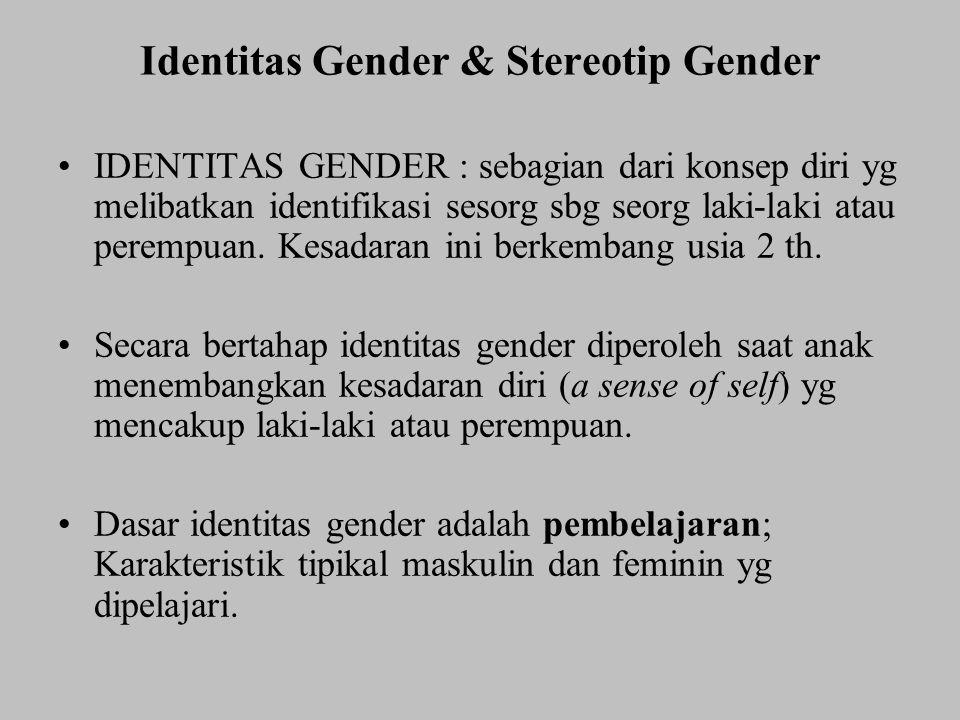 Identitas Gender & Stereotip Gender IDENTITAS GENDER : sebagian dari konsep diri yg melibatkan identifikasi sesorg sbg seorg laki-laki atau perempuan.