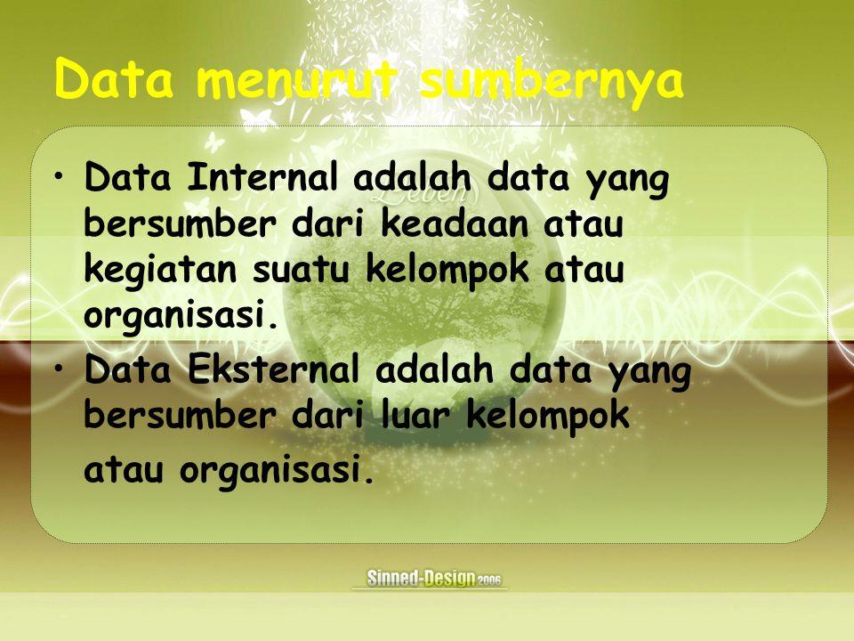 Data menurut sumbernya Data Internal adalah data yang bersumber dari keadaan atau kegiatan suatu kelompok atau organisasi.