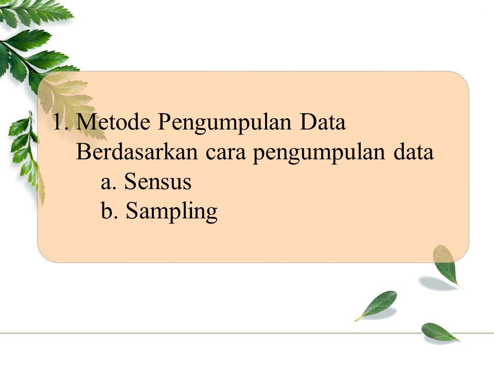 1. Metode Pengumpulan Data Berdasarkan cara pengumpulan data a. Sensus b. Sampling