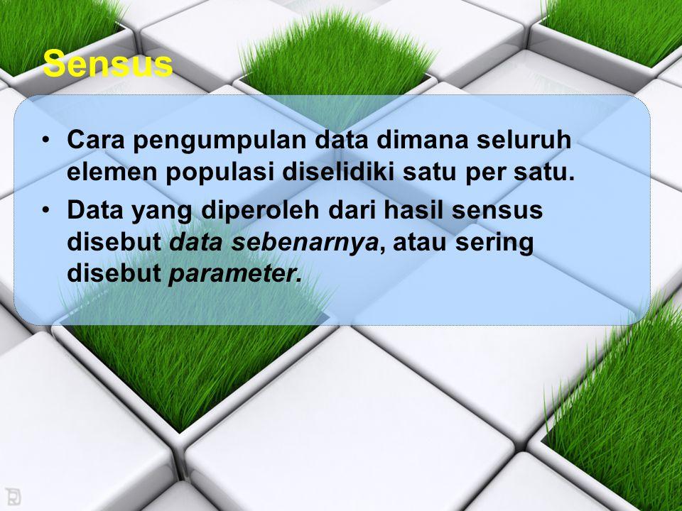 Sensus Cara pengumpulan data dimana seluruh elemen populasi diselidiki satu per satu.