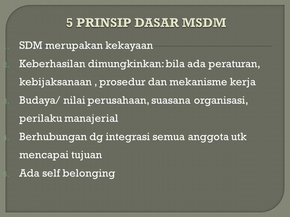 1. SDM merupakan kekayaan 2. Keberhasilan dimungkinkan: bila ada peraturan, kebijaksanaan, prosedur dan mekanisme kerja 3. Budaya/ nilai perusahaan, s