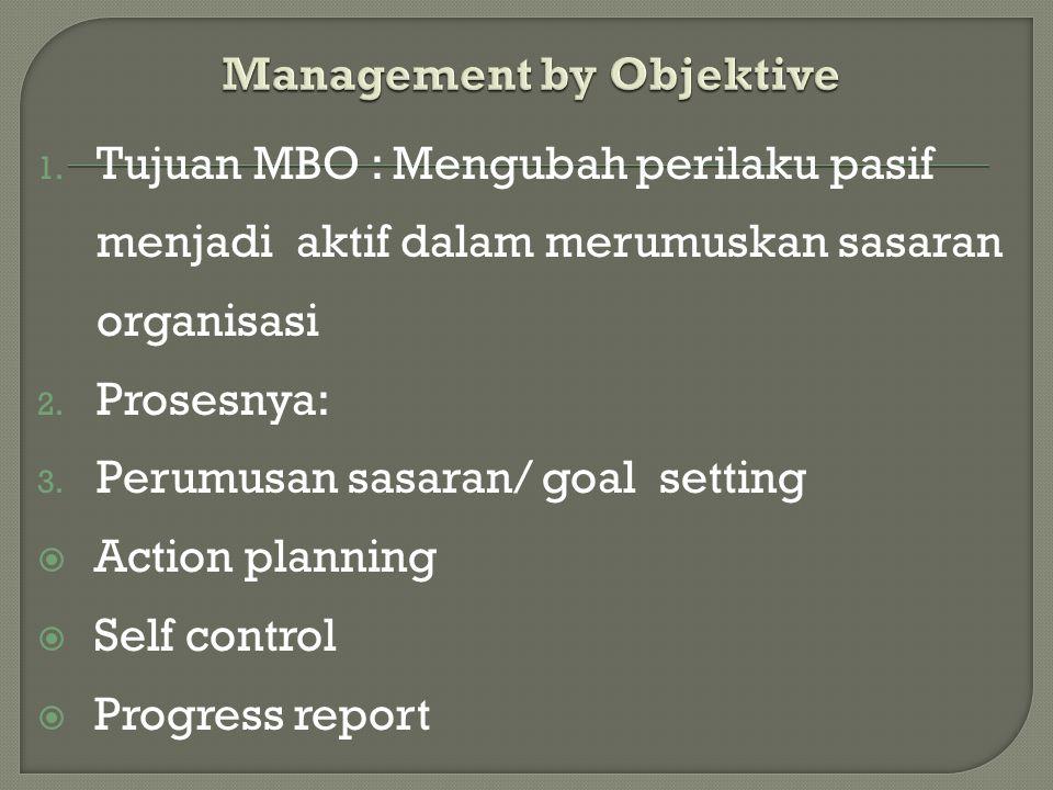 1. Tujuan MBO : Mengubah perilaku pasif menjadi aktif dalam merumuskan sasaran organisasi 2. Prosesnya: 3. Perumusan sasaran/ goal setting  Action pl