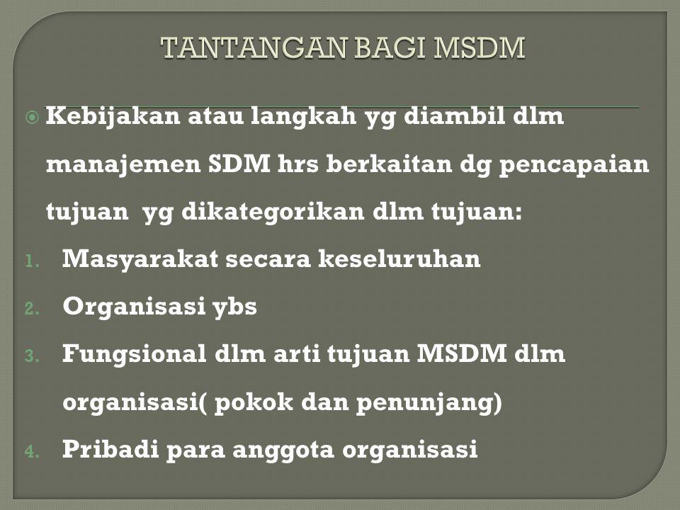  Kebijakan atau langkah yg diambil dlm manajemen SDM hrs berkaitan dg pencapaian tujuan yg dikategorikan dlm tujuan: 1. Masyarakat secara keseluruhan
