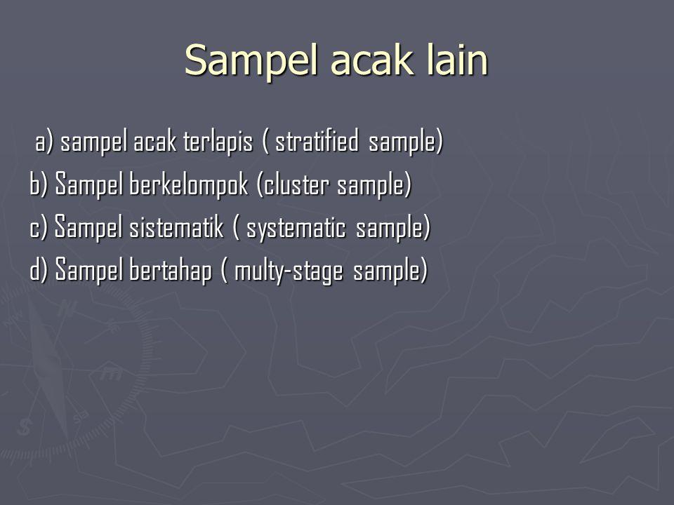 Sampel acak lain a) sampel acak terlapis ( stratified sample) a) sampel acak terlapis ( stratified sample) b) Sampel berkelompok (cluster sample) c) S