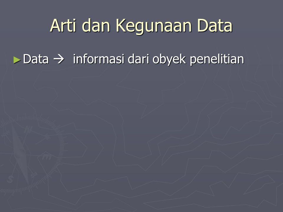 Arti dan Kegunaan Data ► Data  informasi dari obyek penelitian