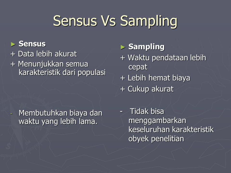 Sensus Vs Sampling ► Sensus + Data lebih akurat + Menunjukkan semua karakteristik dari populasi - Membutuhkan biaya dan waktu yang lebih lama. ► Sampl