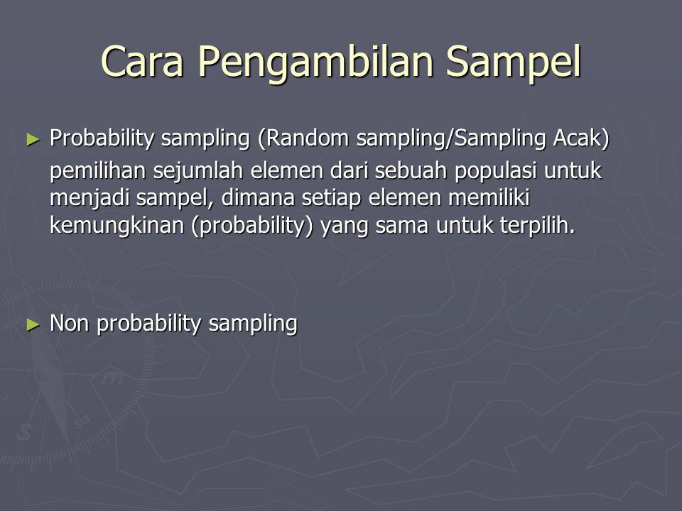 Cara Pengambilan Sampel ► Probability sampling (Random sampling/Sampling Acak) pemilihan sejumlah elemen dari sebuah populasi untuk menjadi sampel, di