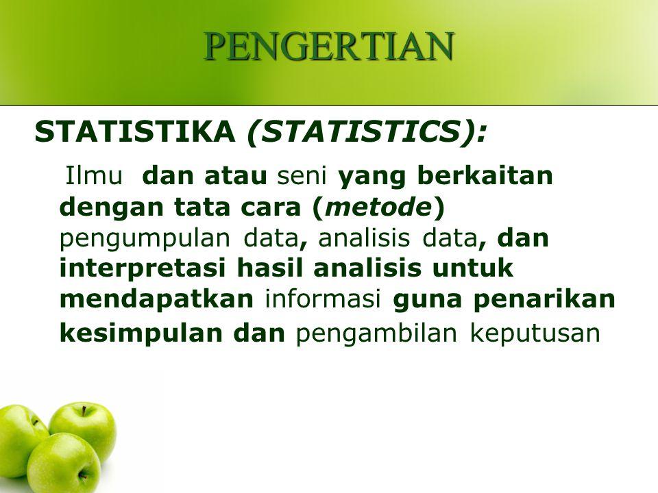 PENGERTIAN STATISTIKA (STATISTICS): Ilmu dan atau seni yang berkaitan dengan tata cara (metode) pengumpulan data, analisis data, dan interpretasi hasil analisis untuk mendapatkan informasi guna penarikan kesimpulan dan pengambilan keputusan