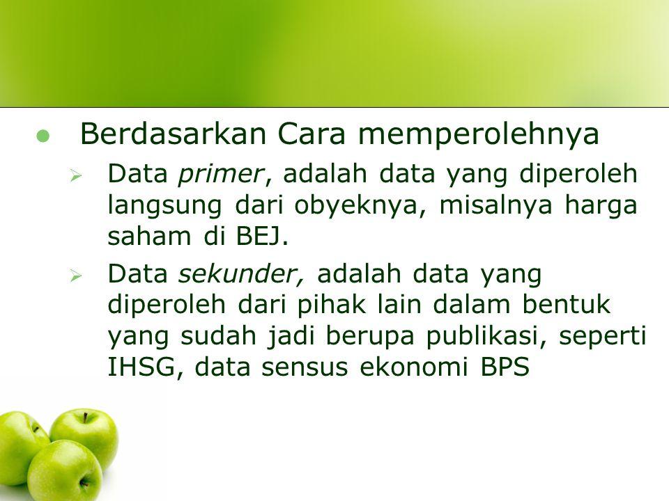 Berdasarkan Sumbernya  Data internal, adalah data yang menggambarkan keadaan dalam satu unit organisasi, seperti data tenaga kerja, data keuangan di