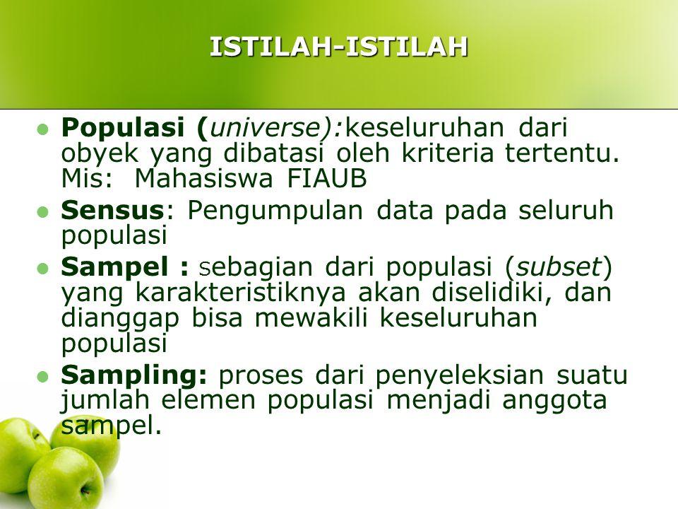 ISTILAH-ISTILAH Populasi (universe):keseluruhan dari obyek yang dibatasi oleh kriteria tertentu.