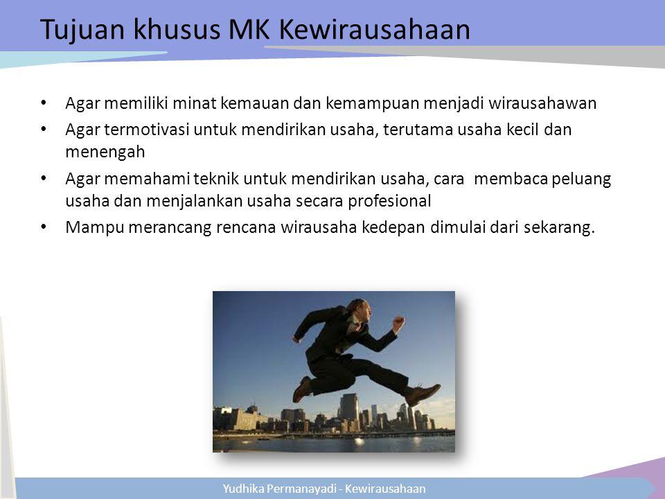 Yudhika Permanayadi - Kewirausahaan Tujuan khusus MK Kewirausahaan Agar memiliki minat kemauan dan kemampuan menjadi wirausahawan Agar termotivasi unt