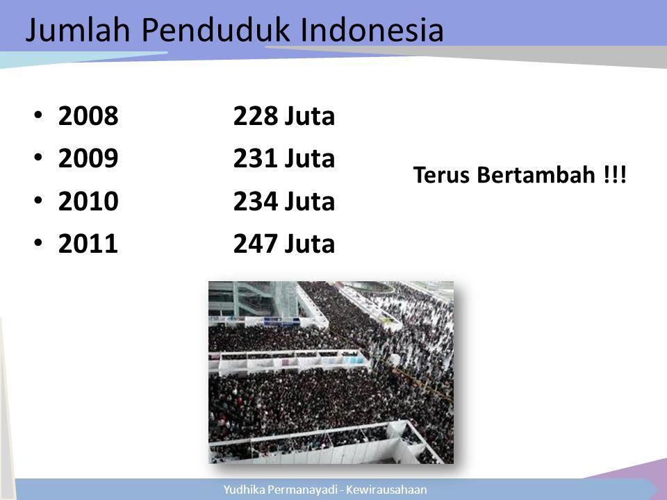 Yudhika Permanayadi - Kewirausahaan Jumlah Penduduk Indonesia 2008228 Juta 2009231 Juta 2010234 Juta 2011247 Juta Terus Bertambah !!!