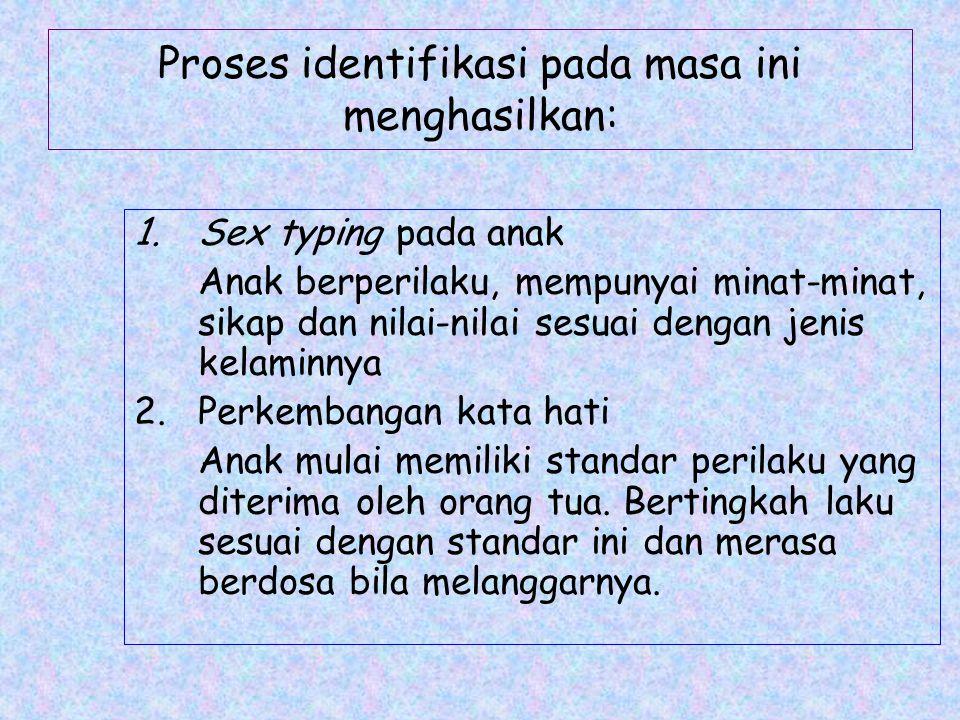 Proses identifikasi pada masa ini menghasilkan: 1.Sex typing pada anak Anak berperilaku, mempunyai minat-minat, sikap dan nilai-nilai sesuai dengan je