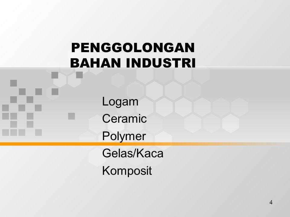 4 PENGGOLONGAN BAHAN INDUSTRI Logam Ceramic Polymer Gelas/Kaca Komposit