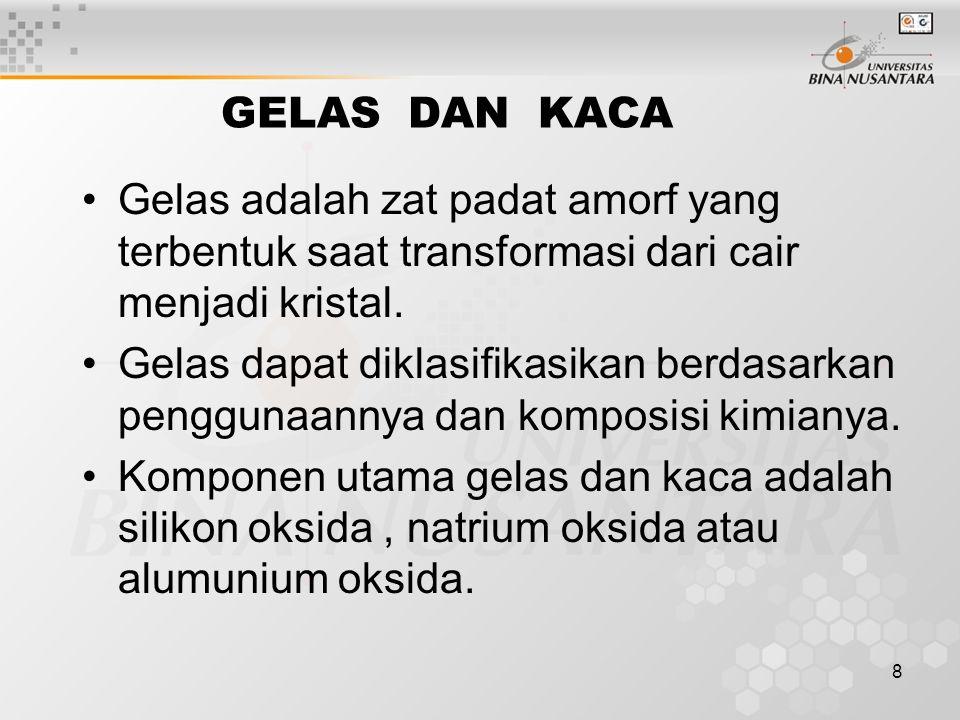 8 GELAS DAN KACA Gelas adalah zat padat amorf yang terbentuk saat transformasi dari cair menjadi kristal.