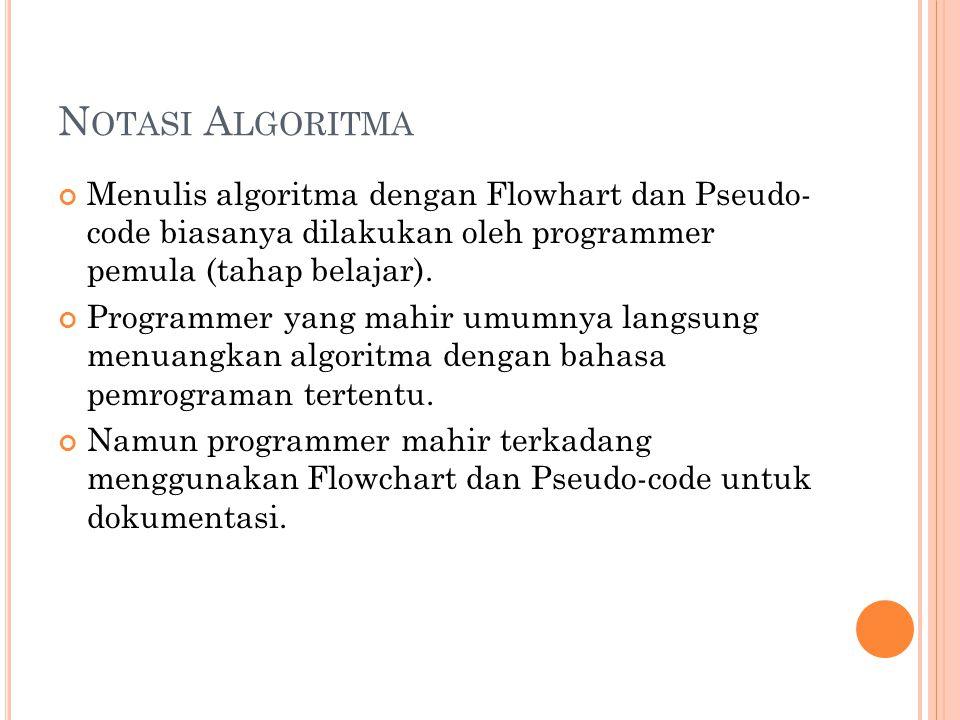 N OTASI A LGORITMA Menulis algoritma dengan Flowhart dan Pseudo- code biasanya dilakukan oleh programmer pemula (tahap belajar). Programmer yang mahir