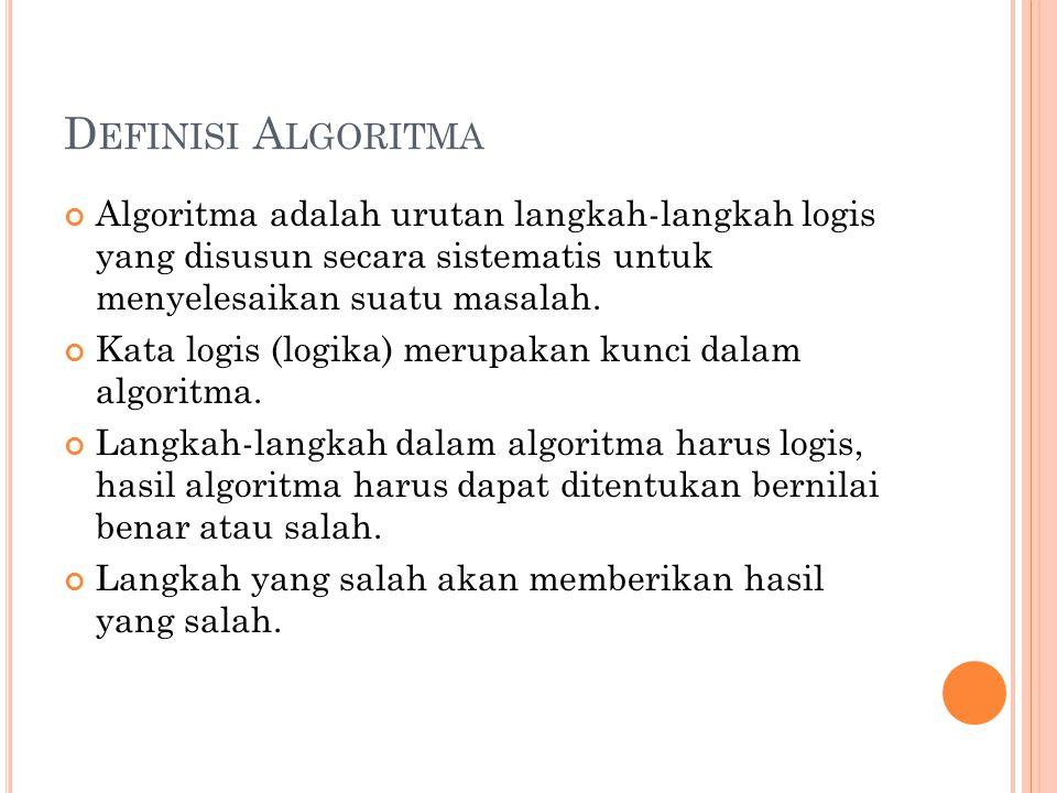 D EFINISI A LGORITMA Algoritma adalah urutan langkah-langkah logis yang disusun secara sistematis untuk menyelesaikan suatu masalah.