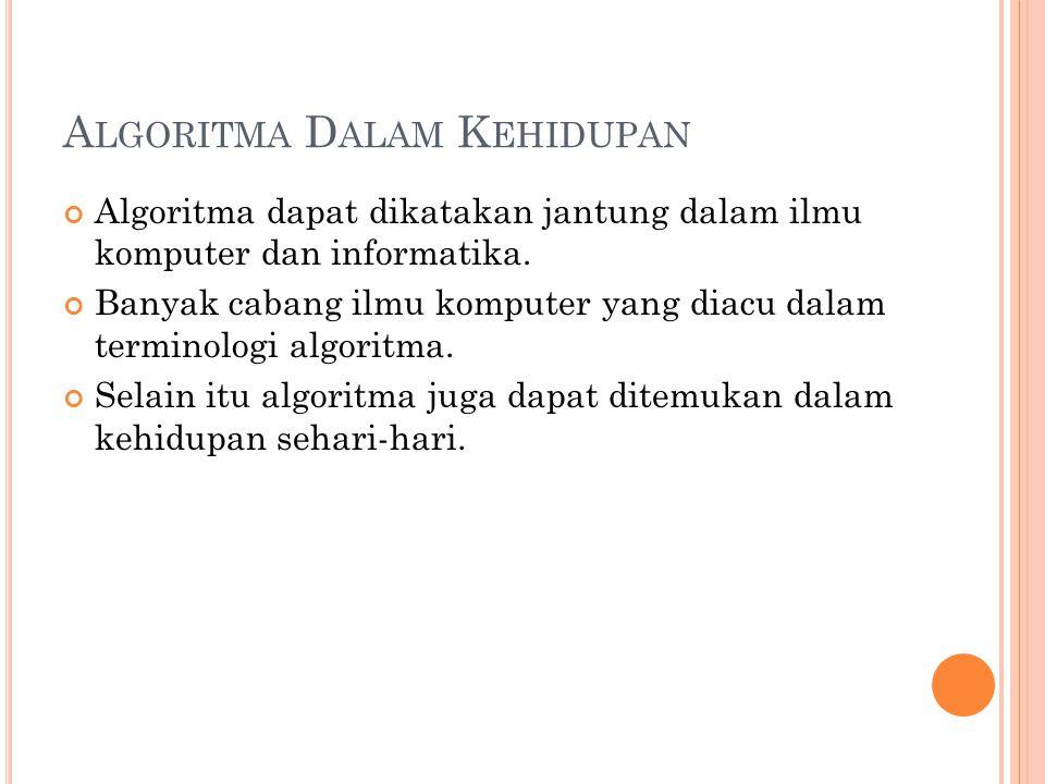 A LGORITMA D ALAM K EHIDUPAN Algoritma dapat dikatakan jantung dalam ilmu komputer dan informatika. Banyak cabang ilmu komputer yang diacu dalam termi