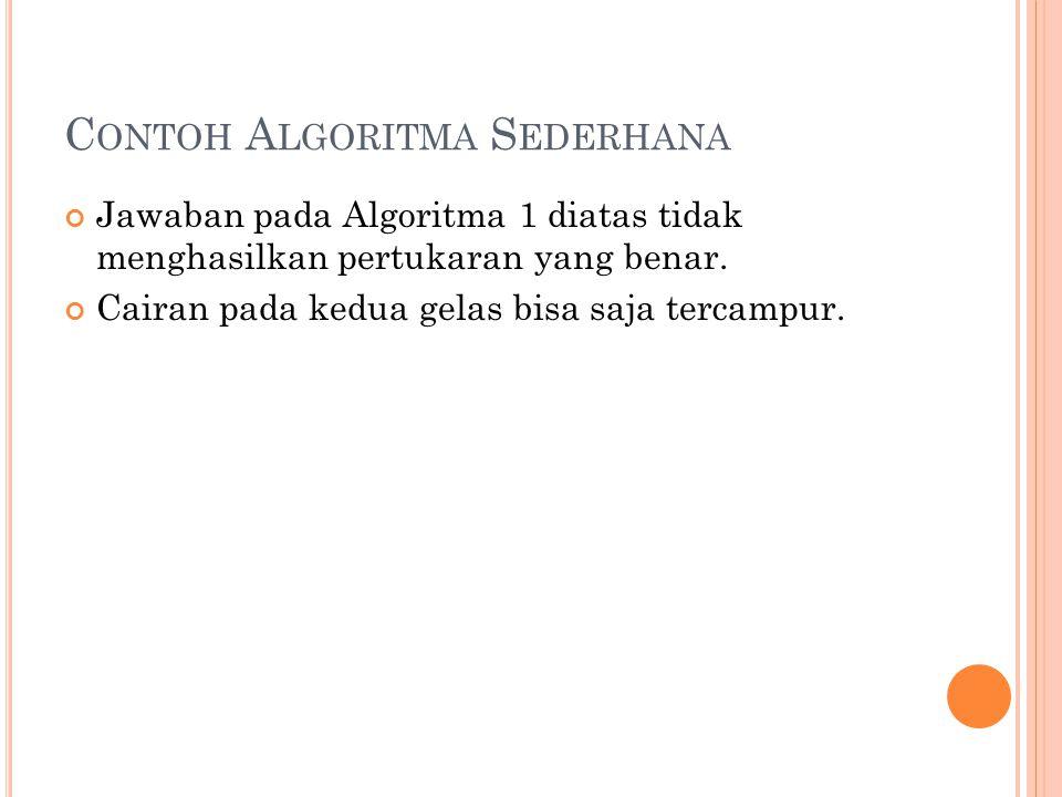 C ONTOH A LGORITMA S EDERHANA Jawaban pada Algoritma 1 diatas tidak menghasilkan pertukaran yang benar.