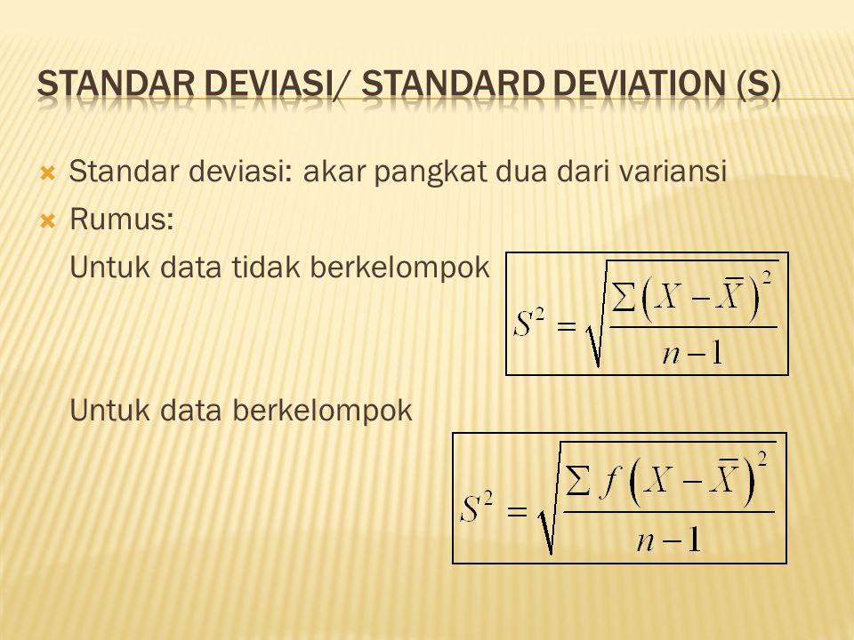 Standar deviasi: akar pangkat dua dari variansi  Rumus: Untuk data tidak berkelompok Untuk data berkelompok