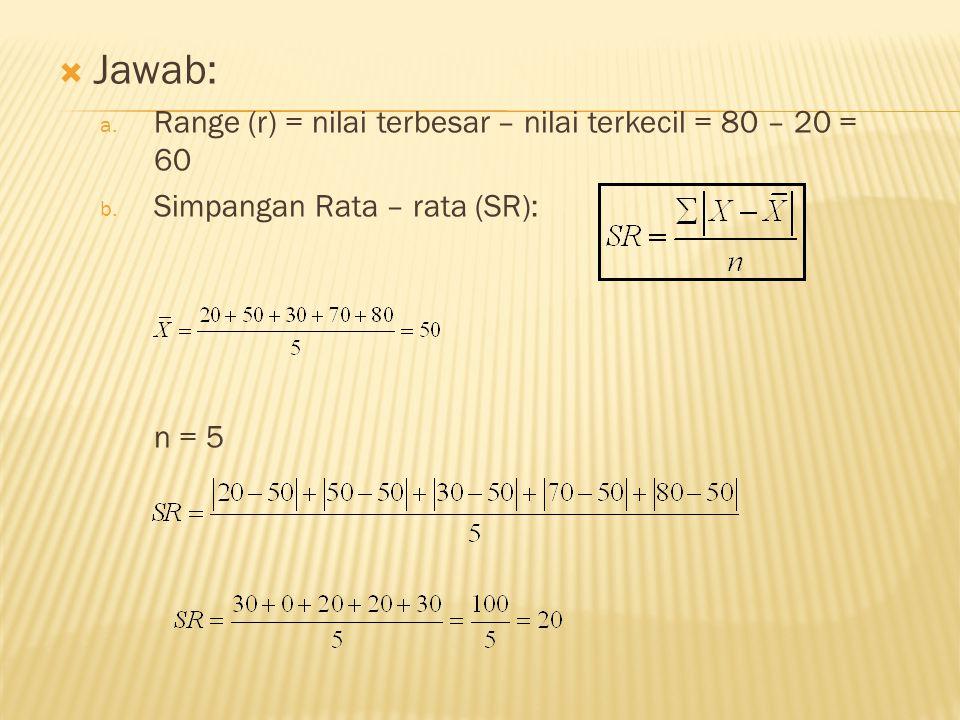  Jawab: a. Range (r) = nilai terbesar – nilai terkecil = 80 – 20 = 60 b.