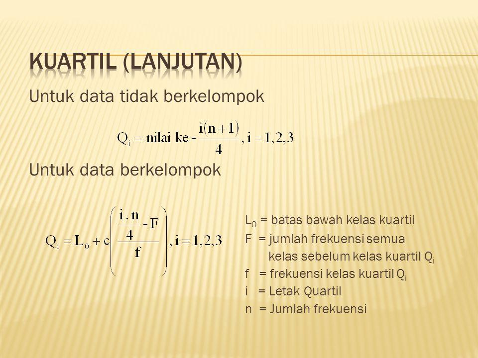 Untuk data tidak berkelompok Untuk data berkelompok L 0 = batas bawah kelas kuartil F = jumlah frekuensi semua kelas sebelum kelas kuartil Q i f = frekuensi kelas kuartil Q i i = Letak Quartil n = Jumlah frekuensi