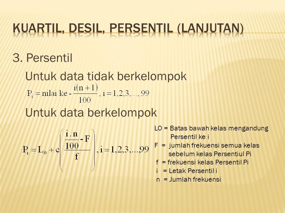 3. Persentil Untuk data tidak berkelompok Untuk data berkelompok LO = Batas bawah kelas mengandung Persentil ke i F = jumlah frekuensi semua kelas seb
