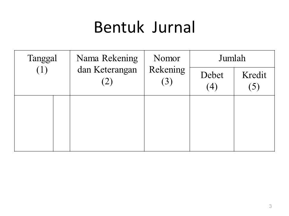 Bentuk Jurnal Tanggal (1) Nama Rekening dan Keterangan (2) Nomor Rekening (3) Jumlah Debet (4) Kredit (5) 3