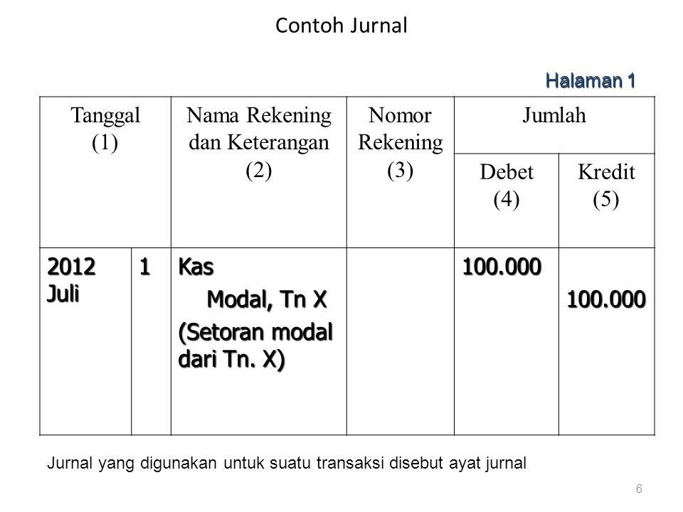 Contoh Jurnal Tanggal (1) Nama Rekening dan Keterangan (2) Nomor Rekening (3) Jumlah Debet (4) Kredit (5) 2012 Juli 1Kas Modal, Tn X Modal, Tn X (Seto