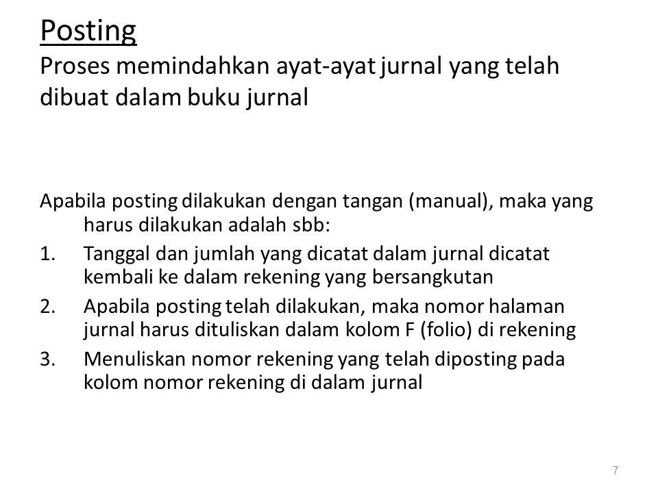 Posting Proses memindahkan ayat-ayat jurnal yang telah dibuat dalam buku jurnal Apabila posting dilakukan dengan tangan (manual), maka yang harus dila