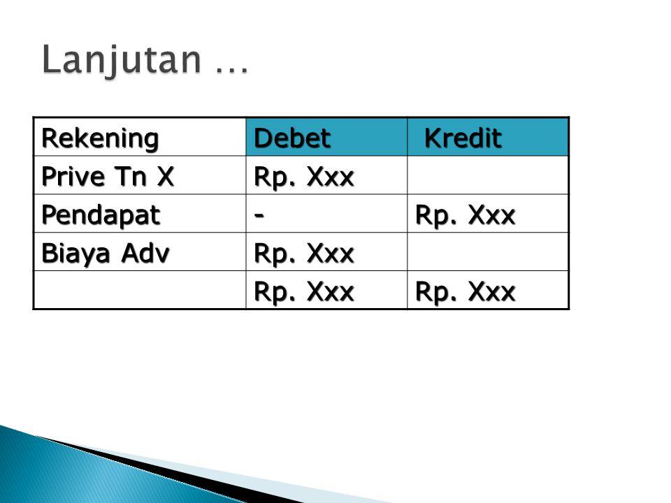RekeningDebet Kredit Kredit Prive Tn X Rp. Xxx Pendapat- Biaya Adv Rp. Xxx