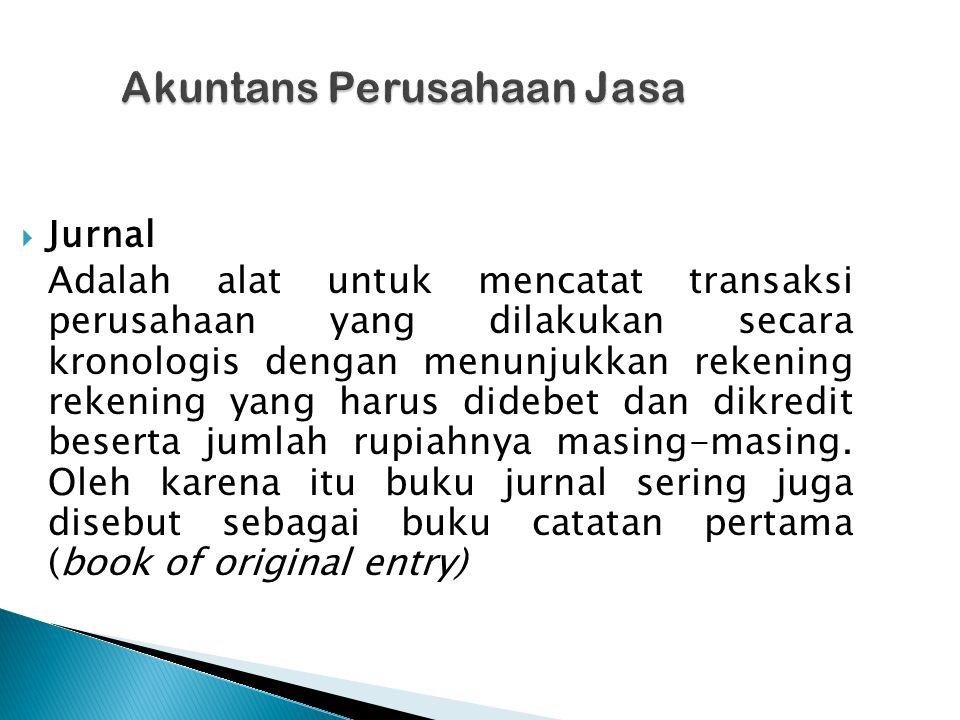 Akuntans Perusahaan Jasa Akuntans Perusahaan Jasa  Jurnal Adalah alat untuk mencatat transaksi perusahaan yang dilakukan secara kronologis dengan menunjukkan rekening rekening yang harus didebet dan dikredit beserta jumlah rupiahnya masing-masing.