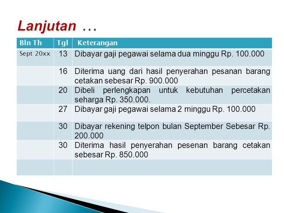 Bln ThTgl Keterangan Sept 20xx 13Dibayar gaji pegawai selama dua minggu Rp.