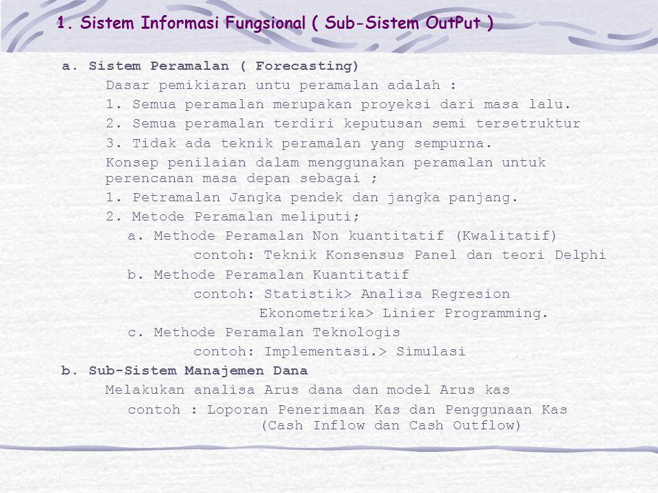 1. Sistem Informasi Fungsional ( Sub-Sistem OutPut ) a. Sistem Peramalan ( Forecasting) Dasar pemikiaran untu peramalan adalah : 1. Semua peramalan me